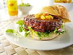 beef burger with sweetcorn relish and salad in a bun photos. Funky Stock Photos