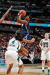 01 APRIL 2012:  Tiffany Hayes (3) of the University of Connecticut shoots against the University of Notre Dame during the Division I Women's Final Four Semifinals at the Pepsi Center in Denver, CO.  Notre Dame defeated UCONN 83-75 to advance to the national championship game.  Jamie Schwaberow/NCAA Photos