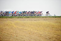 peloton crosses a field with 7 minutes behind a 5 man breakaway<br /> <br /> 57th E3 Harelbeke 2014