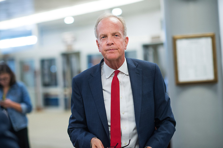 UNITED STATES - SEPTEMBER 28: Sen. Jerry Moran, R-Kan., makes his way to a vote in the Capitol before the Senate passed a 10-week continuing resolution to fund the government, September 28, 2016. (Photo By Tom Williams/CQ Roll Call)