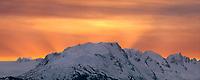 Morning sunrise over the Kenai Mountains, Alaska Peninsula, viewed from Homer, Alaska.