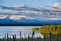 Sunset over long lake, Wrangell mountains in the distance.