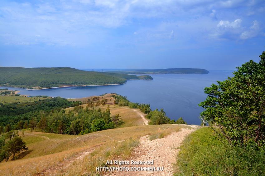 "Beautiful scenery of Volga river in Russian National park ""Samara Luka"". Near the Volga hydroelectric station and dam"