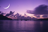Crescent moon over Great Cruz Bay, St John