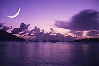 Crescent moon over Great Cruz Bay, St John