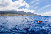 A kayaker has a close encounter with humpback whales while a whale-watching boat offers a view of the interaction off the coast of Maui.
