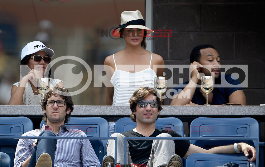 September 2, 2012: Model Chrissy Teigen (top C), singer John Legend (top R), and singer Josh Groban (bottom L) visit the Moet &amp; Chandon Suite during Day 7 of the 2012 U.S. Open Tennis Championships at the USTA Billie Jean King National Tennis Center in Flushing, Queens, New York, USA. Credit: mpi105/MediaPunch Inc. /NortePhoto.com<br />