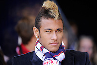 Neymar of Santos about to present the game ball prior to the start of the match between the New York Red Bulls  and the Los Angeles Galaxy during the 1st leg of the Major League Soccer (MLS) Western Conference Semifinals at Red Bull Arena in Harrison, NJ, on October 30, 2011.