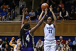 29 December 2015: Duke's Azura Stevens (11) and Western Carolina's Brianne Mack (44). The Duke University Blue Devils hosted the Western Carolina University Catamounts at Cameron Indoor Stadium in Durham, North Carolina in a 2015-16 NCAA Division I Women's Basketball game.