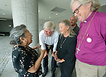Koko Kondo (left), a survivor of the 1945 atom bomb dropped on Hiroshima, Japan, talks on April 7, 2015, to a delegation of church leaders from around the world who have come to see for themselves the suffering caused by the bomb, to listen to the survivors and to local church leaders, and to return home recommitted to advocating for an end to nuclear weapons. The delegation of pilgrims was organized by the World Council of Churches. Kondo is a well-known hibakusha, or atom bomb survivor, who along with her father is mentioned in John Hershey's landmark book about the horror of Hiroshima.