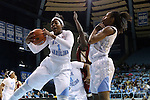 01 February 2015: North Carolina's Stephanie Mavunga (1) grabs a rebound next to N'Dea Bryant (right). The University of North Carolina Tar Heels hosted the Boston College Eagles at Carmichael Arena in Chapel Hill, North Carolina in a 2014-15 NCAA Division I Women's Basketball game. UNC won the game 72-60.