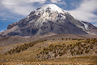 Volcan Sajama, the highest mountain in Bolivia, at 21,463 feet above sea level.