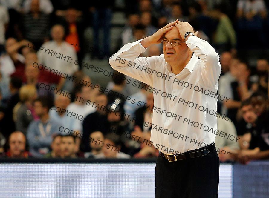 Dusko Vujosevic Final 4 ABA liga, Jadranska liga, polufinalna utakmica  Cedevita - Partizan u Beogradskoj Kombank Areni, 254.4.2014.  (credit image & photo: Pedja Milosavljevic / STARSPORT). © 2014 Pedja Milosavljevic / +318 64 1260 959 / thepedja@gmail.com