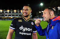 Leroy Houston of Bath Rugby is interviewed after the mtach on the occasion of his final home appearance at the club. European Rugby Challenge Cup match, between Bath Rugby and Bristol Rugby on October 20, 2016 at the Recreation Ground in Bath, England. Photo by: Patrick Khachfe / Onside Images