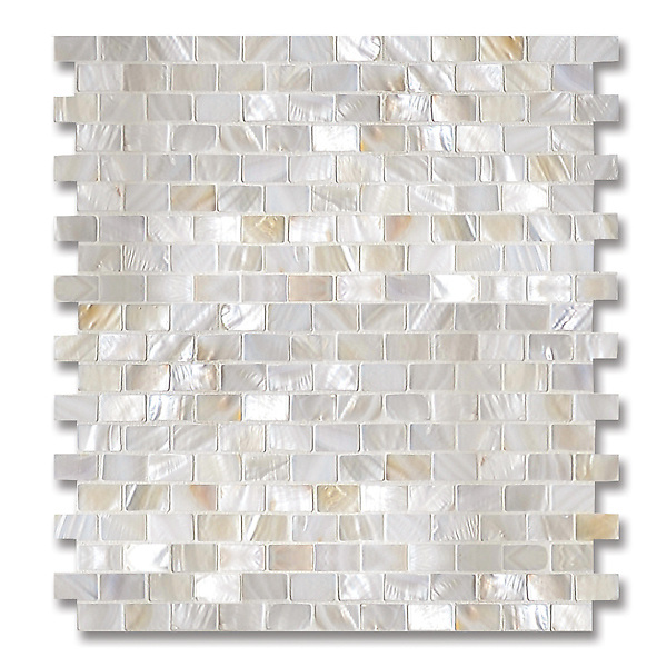 Mini Bricks, shown in Shell is part of New Ravenna's Studio Line of ready to ship mosaics.