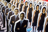 Cutouts of President Barack Obama, First Lady Michelle Obama, and Vice President Joe Biden are for sale at the American Presidential Experience exhibit on Sunday, September 2, 2012 in Charlotte, NC.