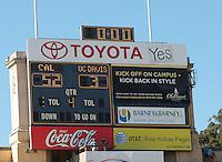 Final Score. The University of California Berkeley Golden Bears defeated the UC Davis Aggies 52-3 in their home opener at Memorial Stadium in Berkeley, California on September 4th, 2010.