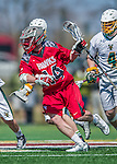 18 April 2015: University of Hartford Hawk Midfielder Robert Zecher, a Senior from Merrick, NY, leads a rush against the University of Vermont Catamounts at Virtue Field in Burlington, Vermont. The Cats defeated the Hawks 14-11 in the final home game of the 2015 season. Mandatory Credit: Ed Wolfstein Photo *** RAW (NEF) Image File Available ***
