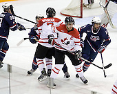 Jake Gardiner (USA - 28), Jordan Schroeder (USA - 19), Gabriel Bourque (Canada - 7), Patrice Cormier (Canada - 28), Luke Walker (USA - 14) - Team Canada defeated Team USA 5-4 (SO) on Thursday, December 31, 2009, at the Credit Union Centre in Saskatoon, Saskatchewan, during the 2010 World Juniors tournament.