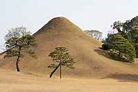 A surreal landscape surrounds a mound created to represent Mount Fuji