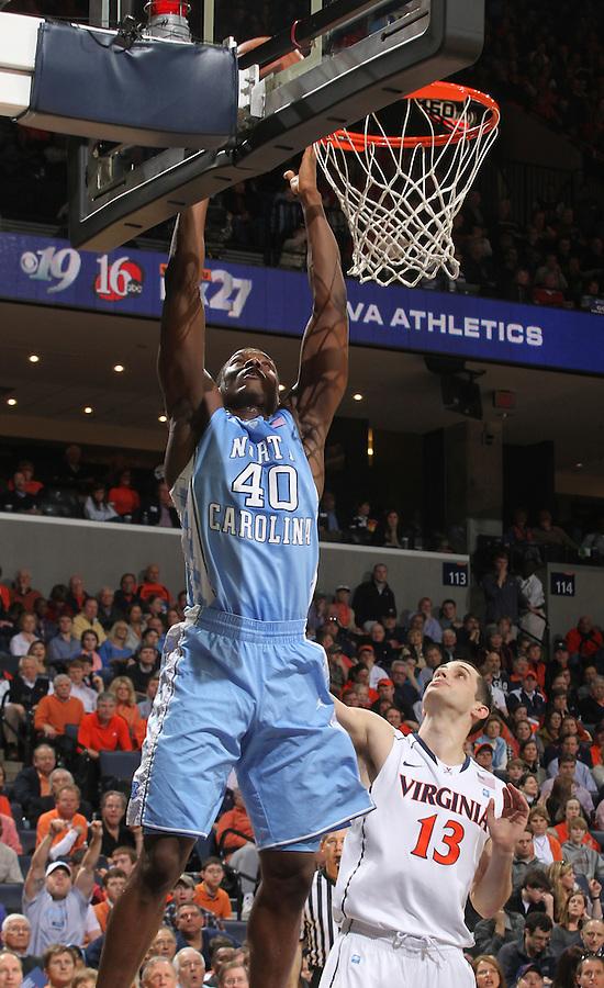 North Carolina Tar Heels forward Harrison Barnes (40) shoots the ball during the game against Virginia in Charlottesville, Va. North Carolina defeated Virginia 54-51.