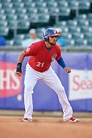 Buffalo Bisons first baseman Rowdy Tellez (21) leads off first base during a game against the Syracuse Chiefs on May 18, 2017 at Coca-Cola Field in Buffalo, New York.  Buffalo defeated Syracuse 4-3.  (Mike Janes/Four Seam Images)