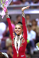 02 OCTOBER 1999 - OSAKA JAPAN:<br /> Alina Kabaeva of Russia wins All Around Gold medal at 1999 Rhythmic Gymnastics World Championships October 2nd in Osaka.