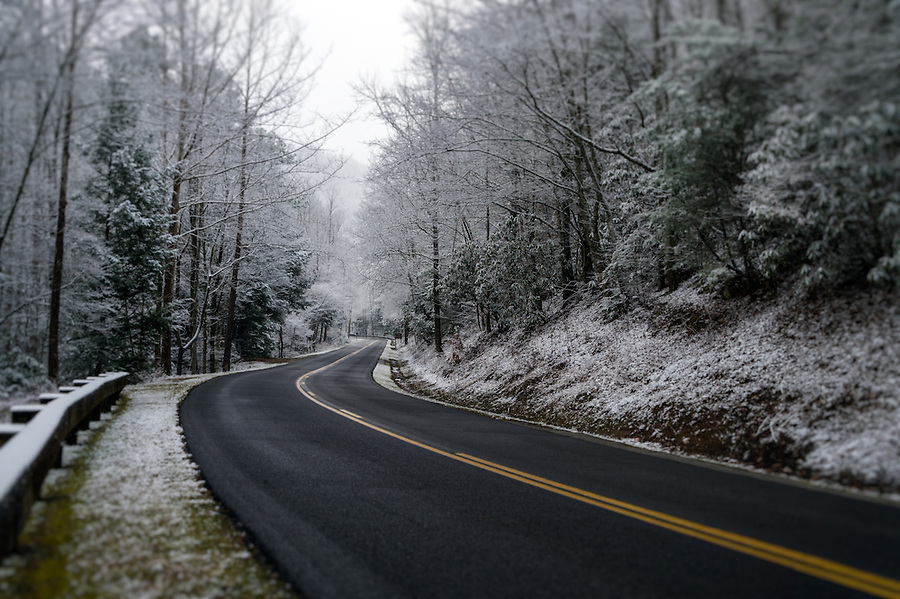 Snowy road during winter at the Great Smoky Mountains National Park