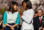 First Lady Michelle Obama (R) and Samantha Cameron talk during the official arrival ceremony at the South Lawn of the White House March 14, 2012 in Washington, DC. Prime Minister Cameron was on a three-day visit in the U.S. and he was expected to have talks with President Obama on the situations in Afghanistan, Syria and Iran.  .Credit: Chip Somodevilla / Pool via CNP