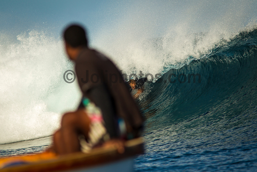 Namotu Island Resort, Fiji. (Monday, May 28, 2012) -   Namotu Lefts and Cloudbreak provided clean fun waves in the 2'-3' range early today. The swell was from the south with small barrels on the inside of the Cloudbreak reef. Photo: joliphotos.com
