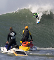 Grant Washburn dropping in during the 2009/2010 Sony Ericsson/Barracuda Networks, Mavericks Surf Contest on Saturday February 13, 2010...