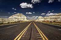 A stretch of US Hwy. 550 running through the Lybrook badlands in northwestern New Mexico.