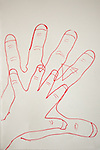 Ted and Sam traced their hands together. Sam was three years old.