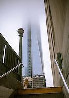 The World Trade Center in Lower Manhattan is seen shrouded in fog on Wednesday, February 27, 2013 as inclement weather covers New York. (© Richard B. Levine)