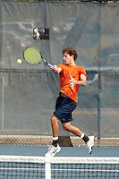 SAN ANTONIO, TX - MAY 1, 2011: The University of Texas at San Antonio Roadrunners vs. the Texas A&M University Corpus Christi Islanders in the Southland Conference Men's Tennis Tournament Championship at the UTSA Tennis Center. (Photo by Jeff Huehn)