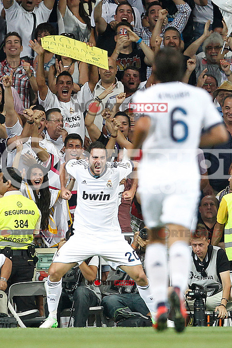 Real Madrid's Gonzalo Higuain goal during Spanish Supercup 2nd match on august 29 2012...Photo: Cesar Cebolla / ALFAQUI /NortePhoto.com<br />