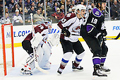 Cameron Gaunce (Colorado Avalanche, #43) vs Kevin Westgarth (Los Angeles Kings, #19) in front of net of Brian Elliott (Colorado Avalanche, #30) during ice-hockey match between Los Angeles Kings and Colorado Avalanche in NHL league, February 26, 2011 at Staples Center, Los Angeles, USA. (Photo By Matic Klansek Velej / Sportida.com)