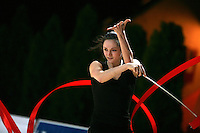 Anna Bessonova of Ukraine trains with ribbon before 2007 Thiais Grand Prix near Paris, France on March 22, 2007.