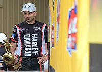 Jul, 22, 2012; Morrison, CO, USA: NHRA pro stock motorcycle rider Eddie Krawiec celebrates after winning the Mile High Nationals at Bandimere Speedway. Mandatory Credit: Mark J. Rebilas-