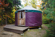 A Yurt at Milan Hill State Park in Milan, New Hampshire USA during the autumn months