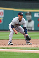 Scranton Wilkes-Barre Railriders third baseman Rob Refsnyder (15) awaits the pitch against the Rochester Red Wings on May 1, 2016 at Frontier Field in Rochester, New York. Red Wings won 1-0.  (Christopher Cecere/Four Seam Images)