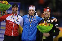 SCHAATSEN: HEERENVEEN: IJsstadion Thialf, 07-02-15, World Cup, Podium 500m Men Division A, Artur Was (POL), Pavel Kulizhnikov (RUS), Nico Ihle (GER), ©foto Martin de Jong