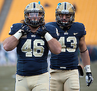 Pitt fullbacks Adam Lazenga (46) and Mark Giubilato (43).The Miami Hurricanes defeated the Pitt Panthers 41-31 at Heinz Field, Pittsburgh, Pennsylvania on November 29, 2013.