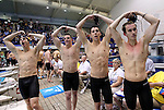 24 MAR 2012:  Members of Denison University  400 yard freestyle relay event celebrate the championship after the Division III Mens and Womens Swimming and Diving Championship held at the IU Natatorium in Indianapolis, IN.  Denison finished second in the relay with a time of 2:58.48. Michael Hickey/NCAA Photos