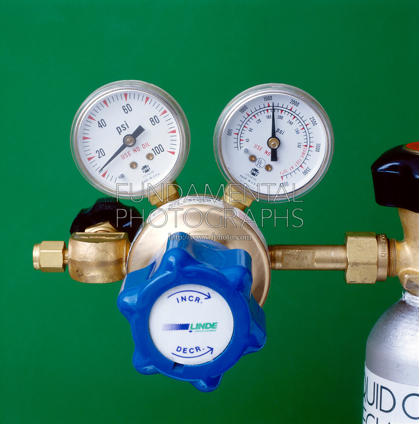GAS REGULATOR (VALVE)<br /> Indicating Pressure<br /> Gauges indicate the pounds per square inch of pressure left inside the container and coming out of the container.