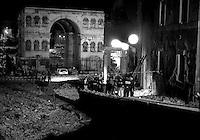Roma 28 Luglio 1993.Attentato alla Chiesa di San. Giorgio al Velabro .La Polizia scientifica al lavoro tra le macerie della chiesa.Rome 28 July 1993.Attack on the Church of St. George in Velabro.Police scientific work in the rubble of the church.