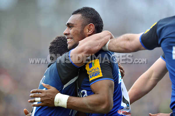 Semesa Rokoduguni is all smiles after scoring a try. Aviva Premiership match, between Bath Rugby and London Welsh on March 30, 2013 at the Recreation Ground in Bath, England. Photo by: Patrick Khachfe / Onside Images