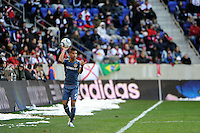 Sean Franklin (5) of the Los Angeles Galaxy during the 1st leg of the Major League Soccer (MLS) Western Conference Semifinals against the New York Red Bulls at Red Bull Arena in Harrison, NJ, on October 30, 2011.