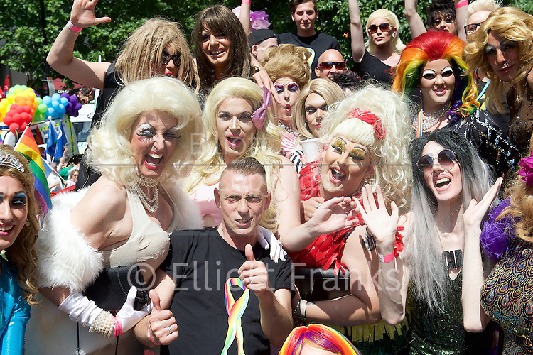 Pride in London 2015 <br /> Gay Pride groups getting ready to march in Pride London Parade in Baker Street, London, Great Britain <br /> 27th June 2015 <br /> <br /> inside the Cancer is a drag bus <br /> <br /> Photograph by Elliott Franks <br /> Image licensed to Elliott Franks Photography Services