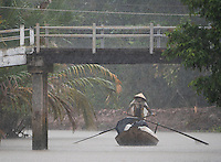 Almost zero visibility during a heavy Monsoon rain storm near near Can Tho, the hub of the Mekong Delta (Vietnamese: Đồng bằng S&ocirc;ng Cửu Long &quot;Nine Dragon river delta&quot;), also known as the Western Region (Vietnamese: Miền T&acirc;y or the South-western region (Vietnamese: T&acirc;y Nam Bộ) is the region in southwestern Vietnam where the Mekong River approaches and empties into the sea through a network of distributaries. The Mekong delta region encompasses a large portion of southwestern Vietnam of 39,000 square kilometres (15,000&nbsp;sq&nbsp;mi). The size of the area covered by water depends on the season.<br />